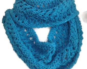 Cotton Infinity Scarf, Knit Circle Scarf, Turquoise Scarf, Lacy Scarf, Eco Friendly Gift, Gift for Her Under 30, Natural Scarf, Aqua Scarf