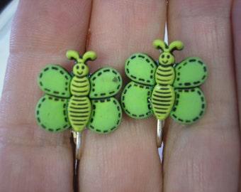 "Play Earring - Clip - Butterfly - Green - 3/4"""