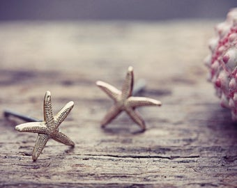 Starfish Earrings Star Fish Studs Beach Jewelry Nautical Tiny Small Raw Brass Seaside Jewellery Shell Sea Fashion Sea Life FREE UK SHIPPING
