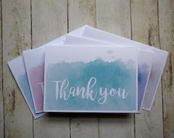 5 x thank you cards // Thank you card set // Watercolour cards // Wedding thank you cards // Thank you card pack  // Card to say thanks //