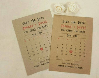 Personalised Save The Dates Wedding Calender A6 Postcard Invites Ribbed or Kraft with envelops