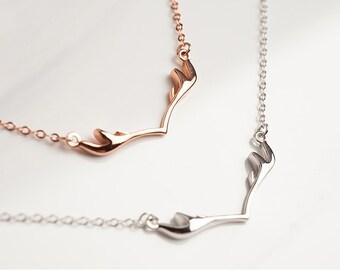 Deer Antler Necklace Silver, Rose Gold, Adjustable Reindeer Jewelry Design - Christmas Gift