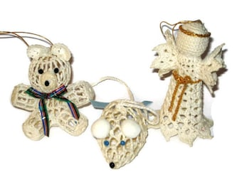 Vintage Christmas Starched Crochet Ornaments Tree Decorations Angel Teddy Bear Mouse Hand Made Folk Art Figure