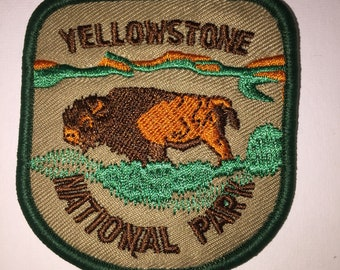 Yellowstone National Park hiking mountains outdoor adventure Iron On Patch
