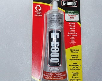 2 oz - Jewelry BAIL glue - E6000 Clear ADHESIVE (2 ounce) 60 ml. Tube - Industrial strength Glue, Sealant Dries Clear