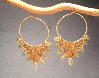 Hoops with orange sapphire, green garnet gemstones Cleopatra 116