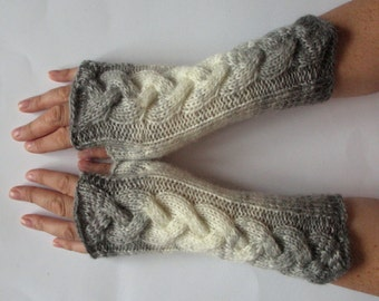 Fingerless Gloves Gray Milk White wrist warmers