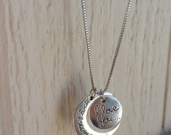 I Love You To The Moon and Back Pendant Necklace Vintage Chain Statement Necklace