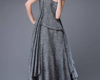 Linen Dress, maxi dress, womens dresses, dress, grey dress, summer dress, long summer dress, sleeveless dress, Asymmetrical dress  C881