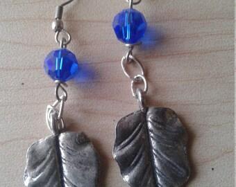 Silver Leaf Charm Earrings