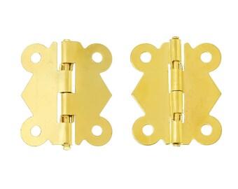 4 Hinges, 3.2 x 2.7 cm, gold