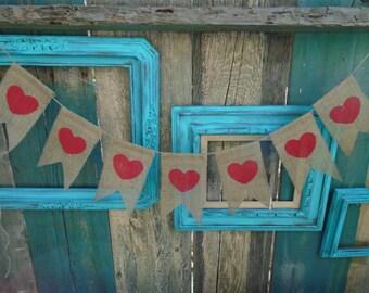 Red Heart Valentine's Day Burlap Banner Garland
