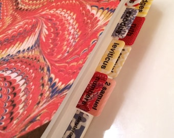 STANDARD Boho Red/Yellow/Blue Books of Bible Tabs by Victoria Anderson