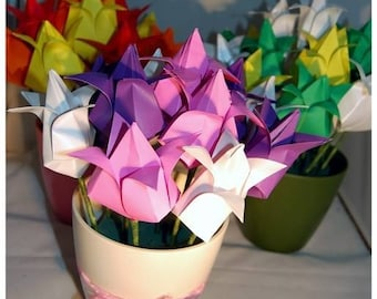 Origami Paper Tulips  ~ Origami ~Paper Flowers ~ Pretty Mothers Day ~Paper/1st Anniversary Gift  ~Custom colour ~Potted Flowers