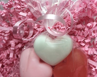 Set of 10 Bridal shower soap favors Wedding soap Soap for guests Heart shaped soap Baby shower soap favors Mini soaps  Mini hearts 3 pack