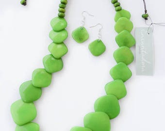 Green Apple Tagua Squares Necklace with Earrings