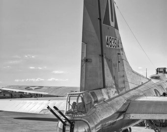 B17 Flying Fortress Tail View,  Fine Art Black and White Photograph