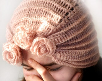 Romantic Angora Crochet Hat With Flowers