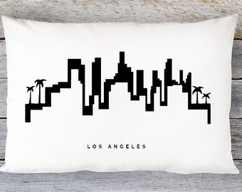 Los Angeles Skyline Pillow Cover - Los Angeles Cityscape Throw Pillow Cover - Modern Black and White Lumbar Pillow - By Aldari Home