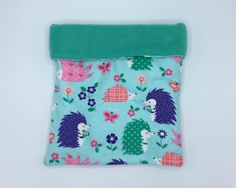 Flannel Sleep Sack, Cuddle Sack, Teal Hedgehogs, for Hedgehog, Sugar Glider, Guinea Pig, Rats, and other Small Animals