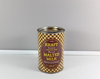 Vintage Malted Milk by Kraft tin box, made in USA - Retro brown and yellow Kraft tin box - Collectible tin box