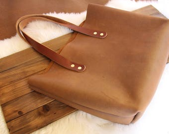 Leather Tote Bag, Whiskey Bandito,  Raw edge leather, Unlined Leather, Rustic Leather