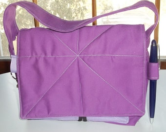 """Purple with Lavender Coupon Organizer Tote Bag Quilted Sorts Coupons with Key and Pen Hoder 7' 'x 9"""" X 2"""" wide Purse"""