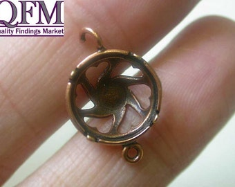 4 pcs Brass Bezel Cup 12mm hearts on cup Vertical loop two loops Finishes: Antique Brass/Copper - Shiny Brass/Copper - Fits Swarovski 1122