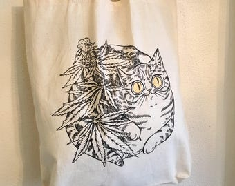 Oh Hi Cannabis Cat Tote- screenprinted cotton tote bag by PaperPuffin