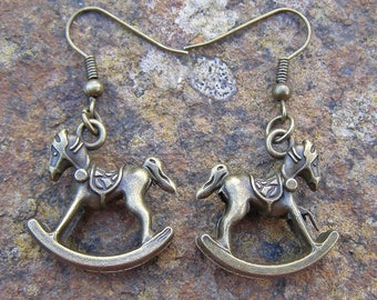 Rocking Horse Earrings, Bronze Colour Charm and Hooks Modern Style 2.5cm drop