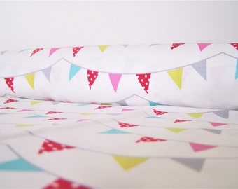 Cotton printed white colorful flags, 50 x 48 cm, fabric coupon