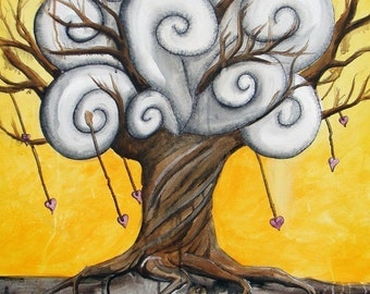 Rooted in Love - 8x10 Art Print  - Whimsical Tree Swirly Clouds and Heart in Roots - Art by Marcia Furman