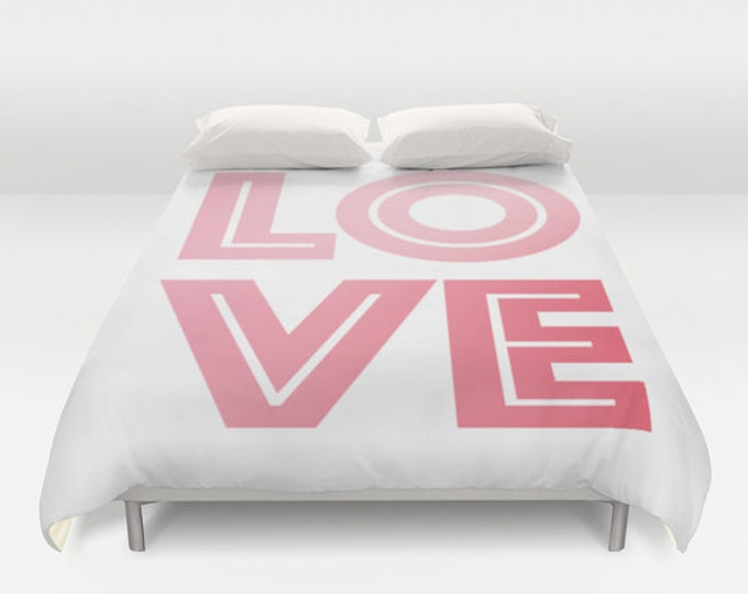 Love - Bed Spread - Duvet Cover - Pink Love - Pink and White - Bed Cover - Duvet Cover Only - Bedding - Made to Order