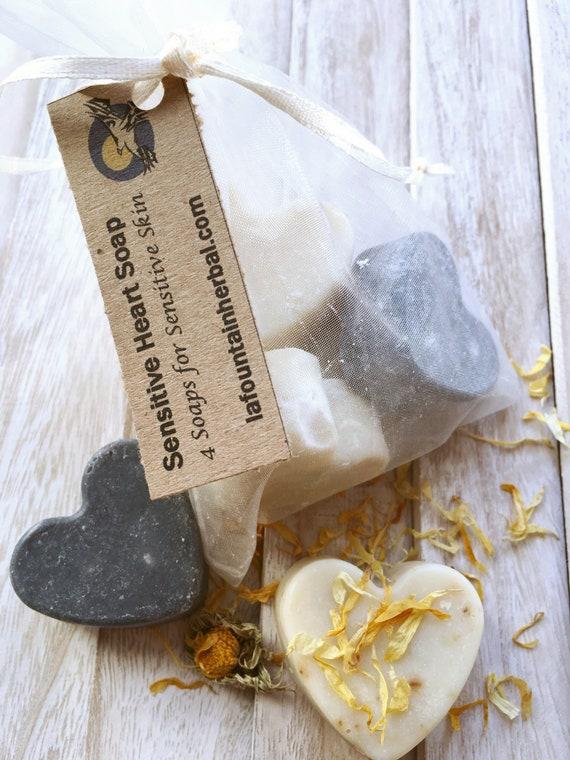 Sensitive Skin Heart Soap - 4 Heart Shaped Soap - Gift Soap