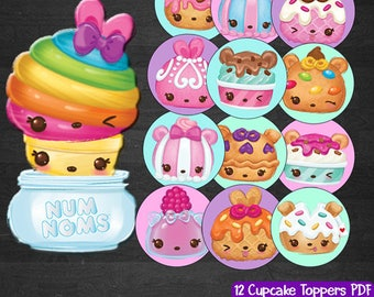 Num Noms  Cupcake Toppers Num Noms Party Printables Instant Download