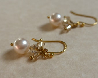 Swarovski Pearl Earring, Swarovski Pearl and Crystal Earring, Swarovski Pearl, Gold Swarovski Crystal Earring, Gold Swarovski Pearl Earring