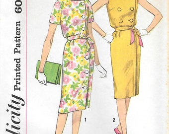 Size 12 UNCUT-Simplicity 3816 1960s Front Closing Double Breasted Dress Vintage Sewing Pattern Bust 32 Sleeveless