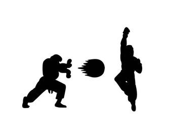 Street fighter Vinyl decal / Ruy vs Ken / shoryuken / Nintendo / Capcom / Vinyl Sticker / Gift for him / decor / retro / gaming