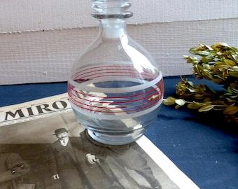 Round glass stripes french Vintage Bistro bar decanter french shabby decor glass