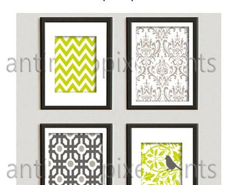Wall Art Chartreuse Lime Warm Gray Charcoal Modern Prints Collection  -Set of (4) Prints - (2) 8x10 (2) 11x14  (UNFRAMED) #579360342
