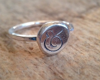 Ampersand Ring, And Sign, And Ring, Hand Stamped Ring, Sterling Silver Stacking Ring, Rustic Pebble Ring, And Symbol, Typography Ring