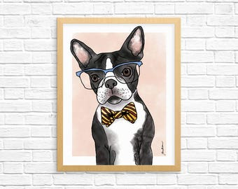 Dog Art Print, Boston Terrier Art, Dog Lover Gift, Pet Portrait, Wall Art, Art Print, Dorm Decor, Home Decor, Nursery Art