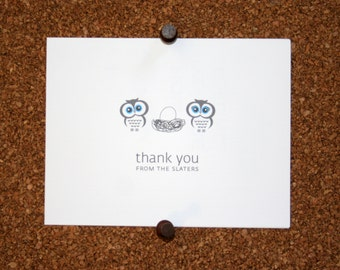 Owl Baby Thank You Cards. Baby Shower Thank You Cards. Baby Thank Yous. Personalized. Owls in Nest. Birds (Set of 10)