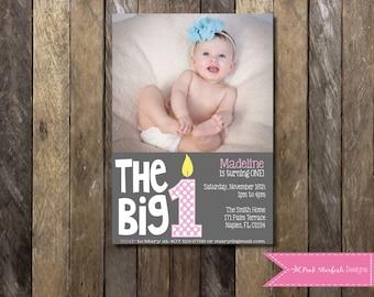 First Birthday Invitation, 1st Birthday Invitation, Birthday Invitation, Printable Invitation, The Big One, Pink, Polka Dot, Birthday Cake