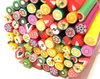 X 100 canes fimo fruit mix 5mm ❤ ❤