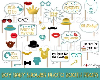 Teal and gold. Baby shower photo props for Boy. Printable. Photo props picture signs. DIY Selfie station photo props. Instant download PDF.