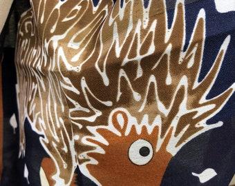hedgehog scarf, designer, brown scarf, dress scarf, colorful scarf