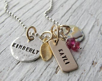 Personalized Family Necklace, TINY Cluster, Tags, Mom Necklace,  Hand Stamped Jewelry, Mother's Necklace, Mixed Metals, Mother's Day Gift