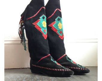 Vtg MOCCASIN BOOTS Black Suede Leather Colorful Details Teal Red Yellow BOHO Hippie Tassel Moccasin Shoes Knee High Boots Size 6.5 Euro 37