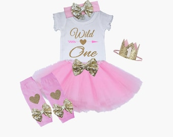 Girl's First Birthday Tutu Outfit Pink and Gold 1st Birthday Outfit Shirt Leg Warmers Hat Bow